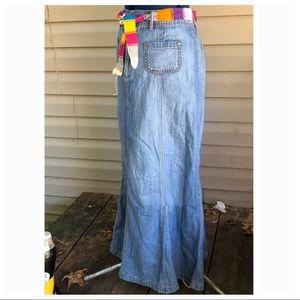 Chico's   Blue Denim Maxi Skirt